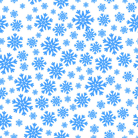 Christmas seamless pattern with blue snowflakes over white.