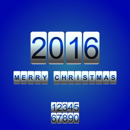 odometer: Vector 2016 New Year white blue card odometer. Changeable figures.