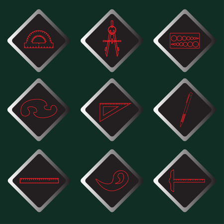 darkly: Set of vector red icons of drawing accessories on darkly green background