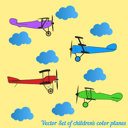 blue clouds: Vector set of children colored retro planes and blue clouds Illustration