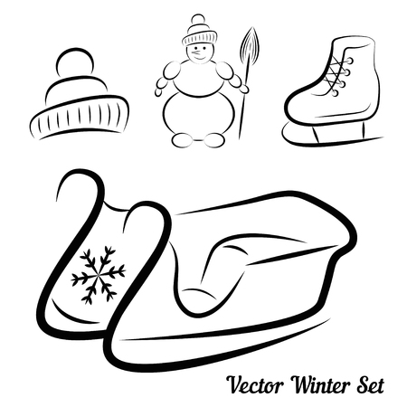 chrismas background: Vector Calligraphic winter drawings set on white Illustration