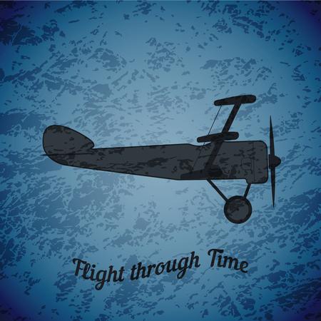 ww1: Vector retro airplane WW1 on blue grunge highlight background