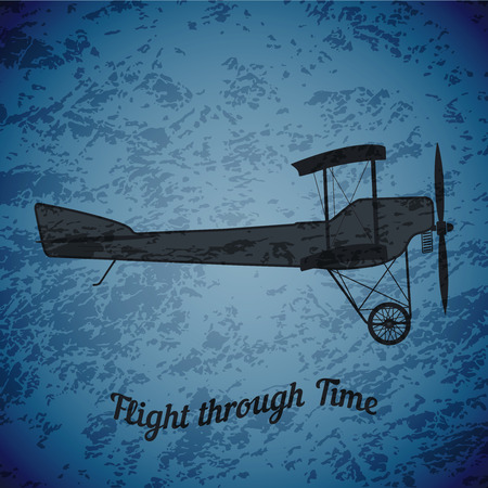 highlight: Vector retro airplane WW1 on blue grunge highlight background