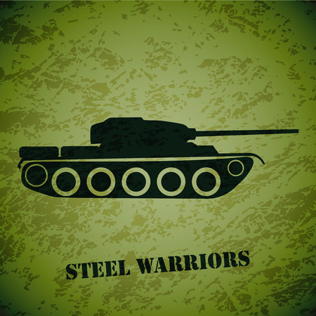 militarily: Vector retro tank on green grunge highlight background.