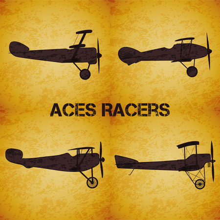 ww1: Set of vector retro airplane WW1 on dark yellow grunge highlight background Illustration