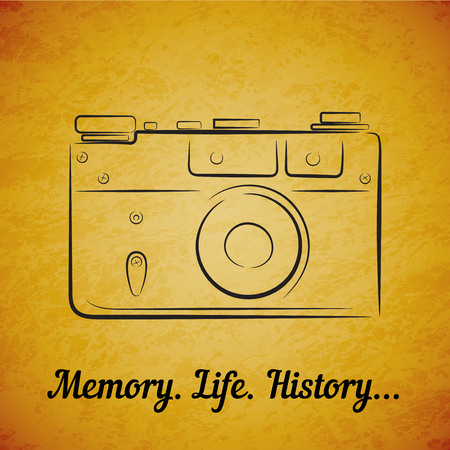 photocamera: Vector vintage film photocamera on yellow grunge background. Element for design, logo, studio, template and other. Live line draw style