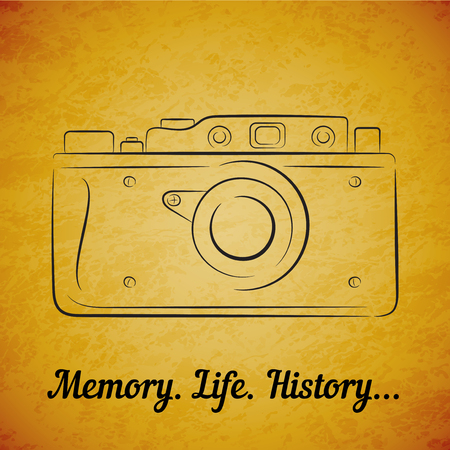 viewer: Vector vintage film photocamera on yellow grunge background.