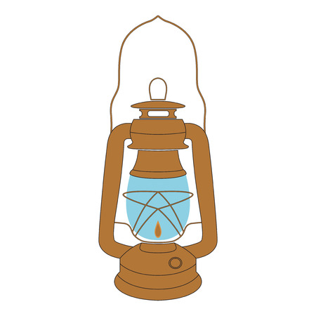 kerosene: Vector yellow vintage kerosene lamp over white