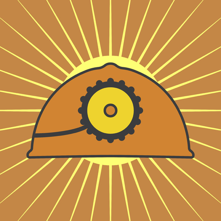 mine lamp: Vector orange mine helmet with a lamp over yellow sunrise rays. Element for your design, safety posters and other industrial projects. Illustration