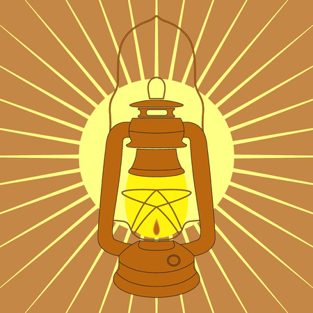 mine lamp: Vintage mine kerosene lamp over yellow sunrise rays. Element for your design, safety posters and other industrial projects.