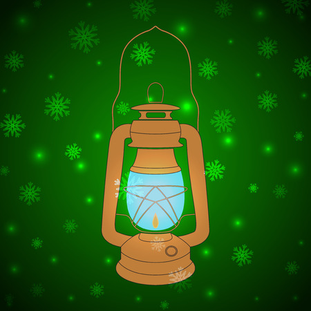 petroleum blue: Vector yellow vintage kerosene lamp on a green Christmas background with snowflakes Illustration