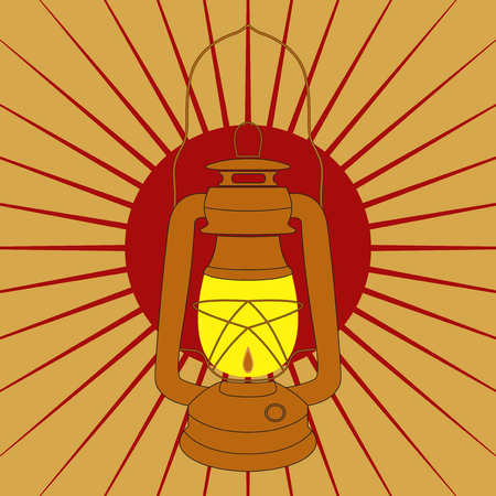 kerosene: Vintage mine kerosene lamp over yellow red sunrise rays. Element for your design, safety posters and other industrial projects.