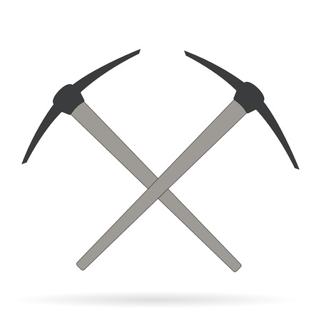 mattock: Vector crossed mine picks over white Element for your design, safety posters and other industrial projects.