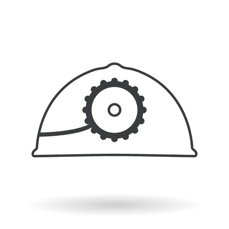 industrial safety: Vector mine helmet with a lamp over white. Element for your design, safety posters and other industrial projects. Illustration