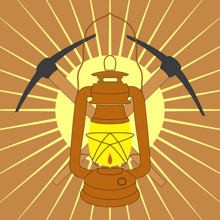 kerosene: Vintage mine kerosene lamp with picks over yellow sunrise rays. Element for your design, safety posters and other industrial projects.