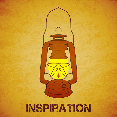 mine lamp: Vintage mine kerosene lantern over yellow grunge background. Element for your design, posters and other industrial projects.