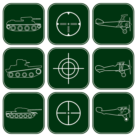 avia: Vector set of military icons. Airplanes, tanks and crosshair white icons over dark green background Illustration