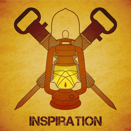 mine lamp: Vintage mine kerosene lantern  jackhammers over yellow grunge background. Element for your design, posters and other industrial projects.