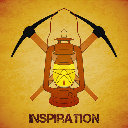 kerosene: Vintage mine kerosene lantern with picks over yellow grunge background. Element for your design, posters and other industrial projects.