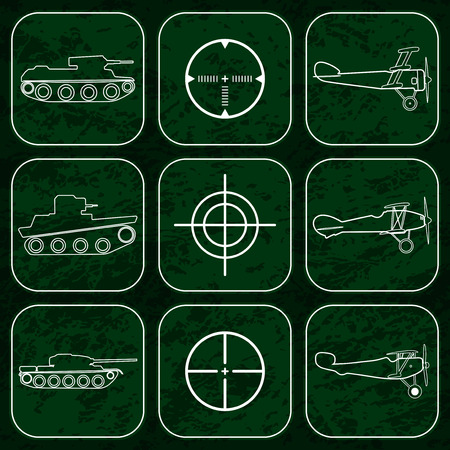avia: Vector set of military icons. Airplanes, tanks and crosshair white icons over dark green camouflage background