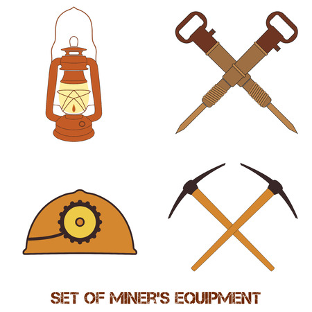 mine lamp: Vector orange set from mine tools and equipment. Helmet, lantern, jackhammers and picks. Element for your design, safety posters and other industrial projects.