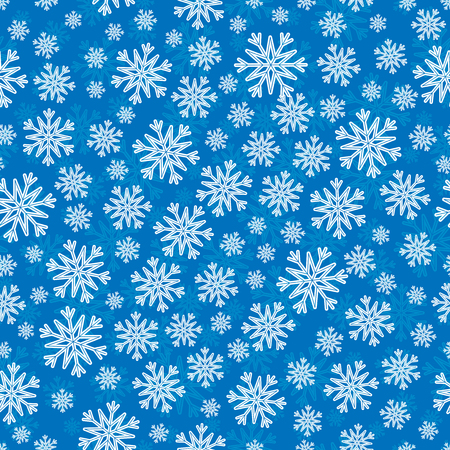 substrate: Christmas seamless pattern with white blue snowflakes and layer substrate over blue