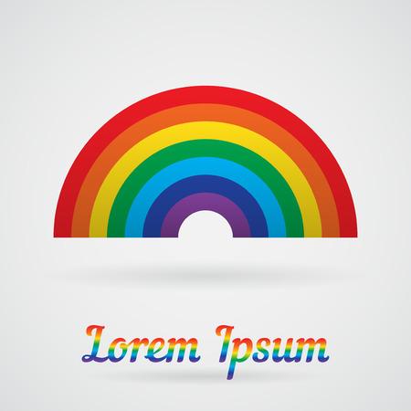 arc en ciel: Vecteur de Rainbow avec une ombre sur un fond blanc. Élément de votre carte de conception, l'étiquette, le logo et d'autres projets Illustration