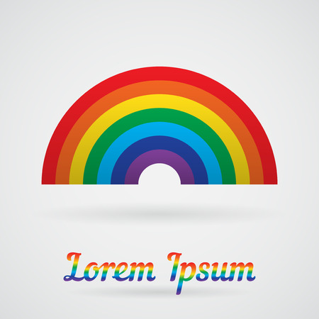 Vector Rainbow with a shadow on a white background. Element for your design card, label, logo and other projects