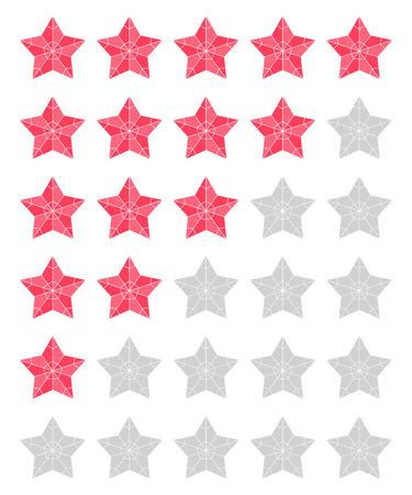 appraisal: Vector set of red rating stars over white.