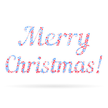 Merry Christmas in the form of snowflakes and stars over white background. Element for your greeting card, posters, and other holiday projects