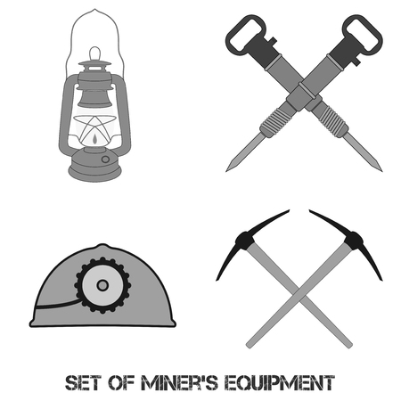 picks: Vector set from mine tools and equipment. Helmet, lantern, jackhammers and picks. Element for your design, safety posters and other industrial projects. Illustration