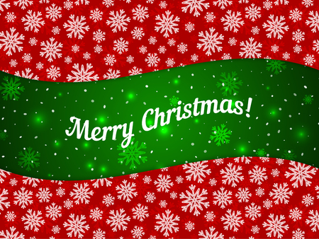 Merry Christmas theme banner witn snowflake pattern. Red green element for your banners, greeting cards and other holiday projects. Seamless pattern in swatches panel Illustration