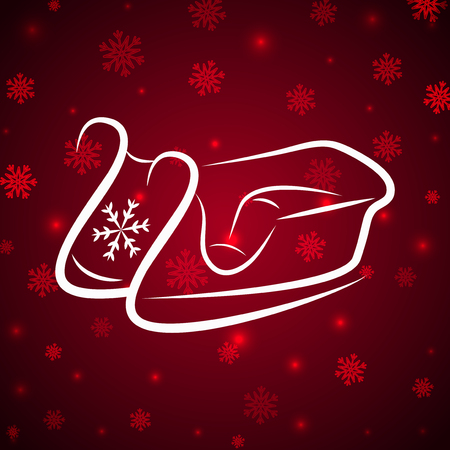 Vector Calligraphic winter sledge on shine red background with light and snowflakes Illustration