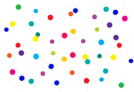 absract: Vector absract bright colored ink blots over white
