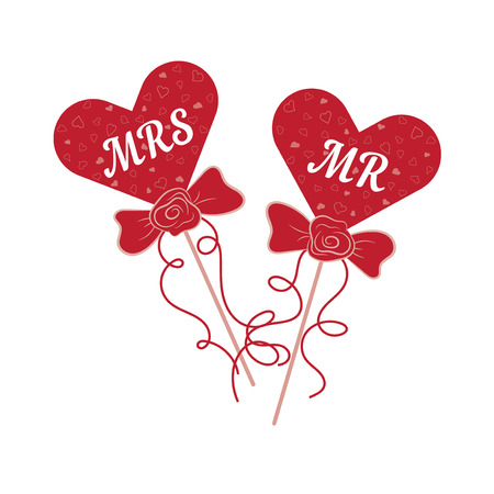 mr: Vector wedding red hearts MR and MRS on a stick. Element for your wedding designs, wedding business projects, logo, and other your projects