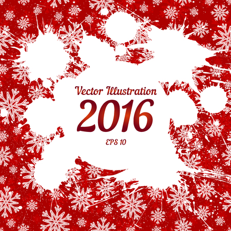 other space: Vector white ink splashes with space for text over red snowflakes background. Element for your Christmas designs, projects, promotional sales and other your projects. Just add your text