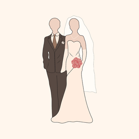 valentine s: Vector bride with bouquet and groom pastel silhouettes. Element for your wedding designs, valentine s day projects, and other your romantic projects. Illustration