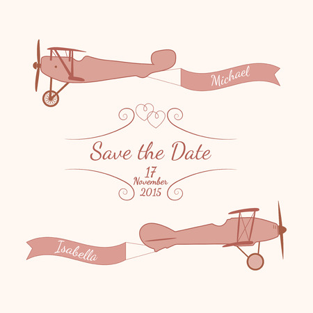 airplane travel: Vector pink retro planes with a wedding banner and names of newlyweds. Element for your wedding designs, valentine s day projects, and other your romantic projects.
