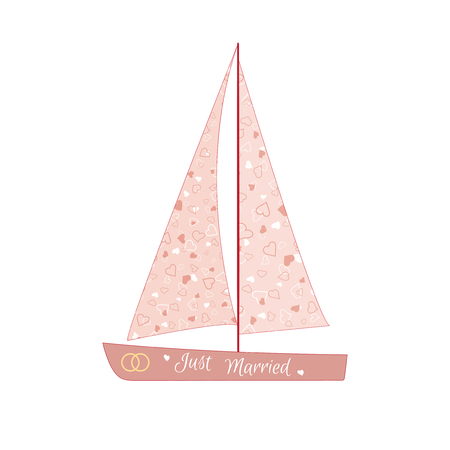 valentine s: Pink wedding sailing yacht. Element for your wedding designs, valentine s day projects, and other your romantic projects.