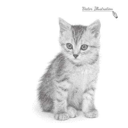 pointillism: Vector illustration of a cat in black and white graphic style- pointillism over white Illustration