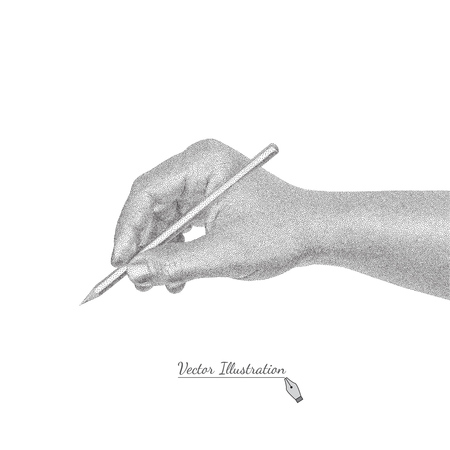 hand pen: Vector male hand in style black and white engraving writes by a pencil. Isolated on the white Illustration
