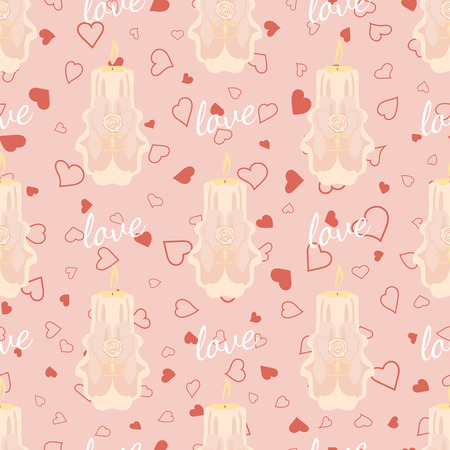 skintone: Vector pink wedding seamless pattern with candles. Element for your wedding designs, valentine s day projects, and other your romantic projects.