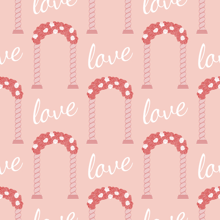 archway: Vector pink wedding seamless pattern. Wedding arc and inscription love pattern. Element for your wedding designs, valentine s day projects, and other your romantic projects.