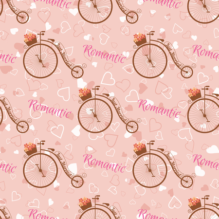 cartoon bouquet: Vector wedding retro bicycle with basket of pink flowers seamless pattern. Element for your wedding designs, valentine s day projects, and other your romantic projects. Illustration
