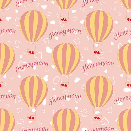 valentine s day: Vector wedding balloon with red hearts seamless pattern. Element for your wedding designs, valentine s day projects, and other your romantic projects. Illustration