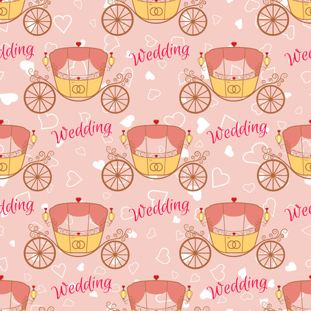 valentine s: Vector pink wedding retro carriage with curls seamless pattern. Element for your wedding designs, valentine s day projects, and other your romantic projects.