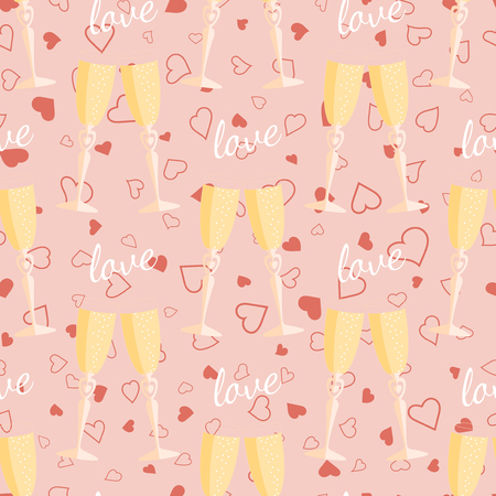 valentine s: Wedding seamless pattern glasses with champagne. Element for your wedding designs, valentine s day projects, and other your romantic projects. Illustration