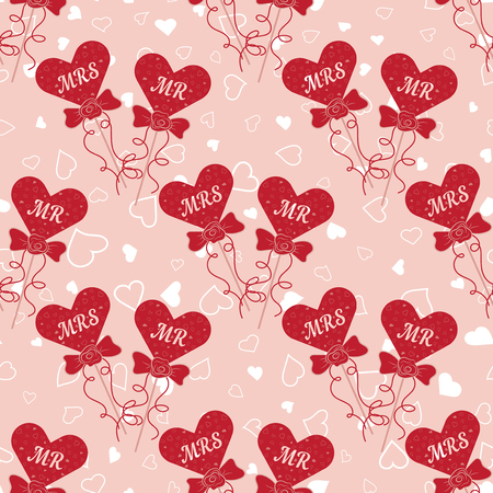 valentine s day: Vector Wedding seamless pattern with hearts MR and MRS on a stick. Element for your wedding designs, valentine s day projects, and other your romantic projects.