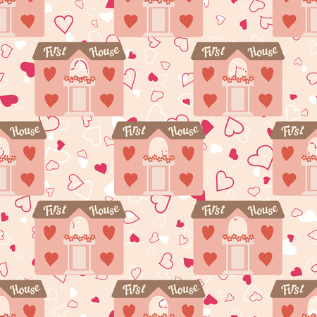 first house: Vector pink wedding seamless pattern with house for newlyweds with windows hearts. Element for your wedding designs, valentines day projects, and other your romantic projects.