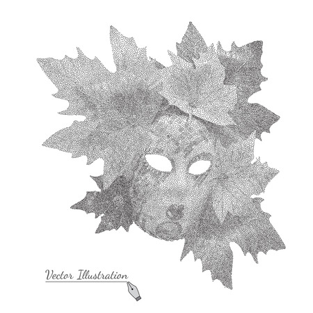 pointillism: Vector illustration Venetian Mask with leaves on black and white graphic style - pointillism over white.